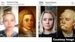 Selfies of Kate Hudson and Kristen Bell using Google Arts and Culture app.