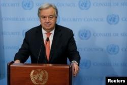 FILE - United Nations Secretary-General Antonio Guterres speaks in New York, Dec. 6, 2017..