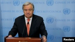 "FILE - U.N. Secretary-General Antonio Guterres speaks in New York, Dec. 6, 2017. Guterres says South Sudan's leadership must show more interest ""in the well-being of its own people."""
