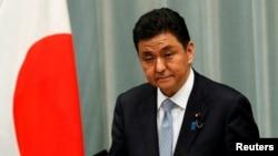 日本防務大臣岸信夫在記者會上(2020年9月16日)