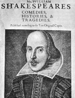 William Shakespeare's portrait on the First Folio edition