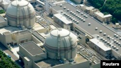 FILE - An aerial view shows Kansai Electric Power Co's Ohi nuclear power plant's No. 4 reactor (front) in Ohi, Fukui prefecture, July 2012.