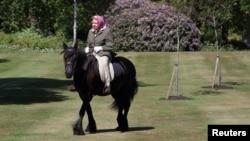 Британську королеву Єлизавету Другу вперше з часу оголошення карантину сфотографували надворі - на верховій прогулянці біля Віндзорського замку 31 травня 2020 р.