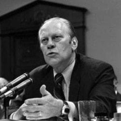 President Gerald Ford testifies at a House of Representatives hearing in 1974 on his pardon of Richard Nixon