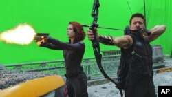 "Scarlett Johansson and Jeremy Renner in a scene from ""The Avengers"""