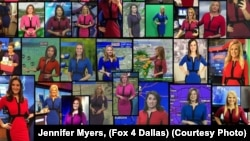 Here is a photo of meteorologists wearing the same dress in different colors. The appeal of the dress was simple. It looks good on television and cost less than $23.