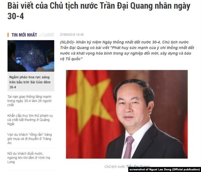 Chủ tịch Việt Nam Trần Đại Quang không nhắc đến hòa hợp, hòa giải trong bài viết hôm 27/4/2-18 về sự kiện 30/4/1975