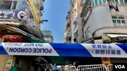 香港政府1月23日新冠肺炎疫情爆發一週年當天,首次在九龍鬧市佐敦及油麻地實施封鎖社區禁足令。(美國之音 湯惠芸拍攝)