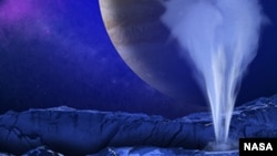 This is an artist's concept of a plume of water vapor thought to be ejected off of the frigid, icy surface of the Jovian moon Europa, located 500 million miles from the Sun.