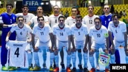 تیم ملی فوتسال ایران پیش از بازی با پرتغال