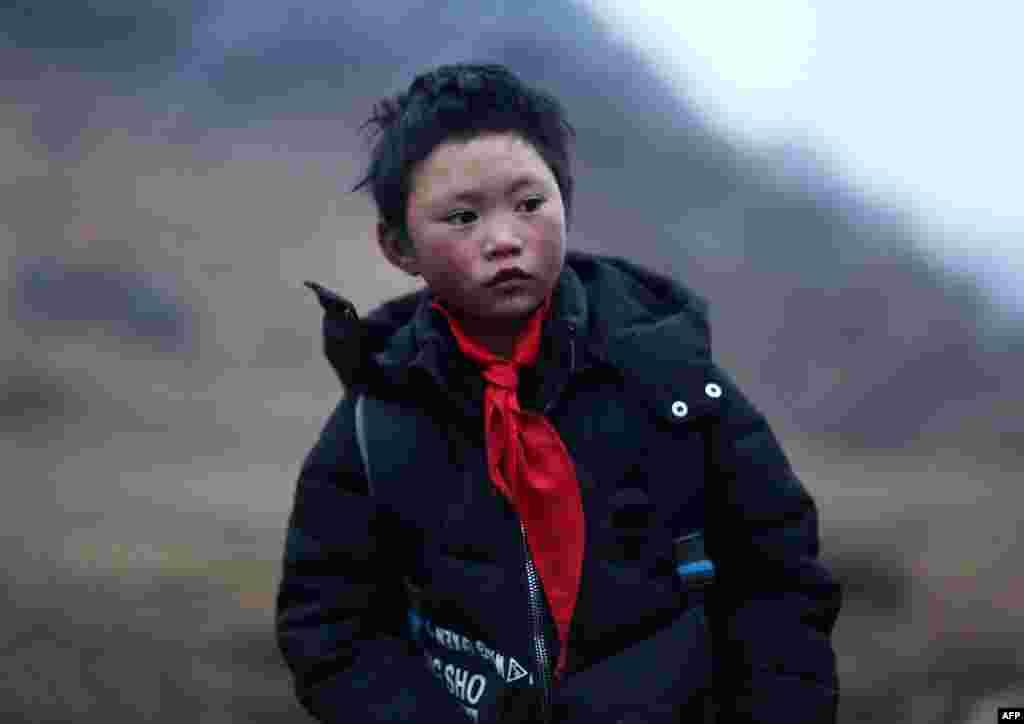 """云南山区鲁甸的8岁小学生王福满(2018年1月11日)。王福满身穿单薄衣服攀爬山路走到学校,头发上结满了白冰花的""""冰花男孩""""照片广泛流传。"""