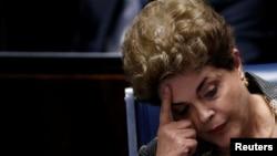 2016年8月29日,巴西被停職的總統迪爾瑪羅塞夫在巴西巴西利亞出席彈劾她的最終辯論和投票。
