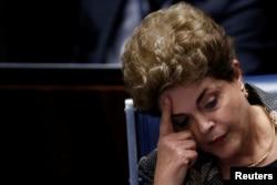 지난해 8월 의회에서 진행된 탄핵심판에 출석한 지우마 호세프 전 브라질 대통령.