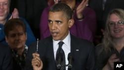 9일 백악관에서 첫 대국민 연설을 통해 미국 재정 위기에 대한 입장을 표명하는 바락 오바마 대통령(자료사진)