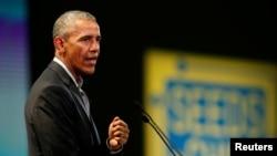 L'ancien président des États-Unis Barack Obama au sommet de Milan, en Italie, le 9 mai 2017.