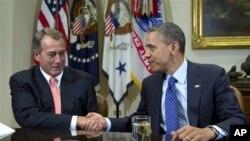 John Boehner accueilli par le président Obama à la Maison blanche (archives)