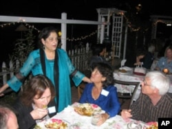 Samina Sundas mingles with guests at a recent gathering she hosted.