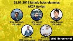 Yanvarın 25-də həbs edilən AXCP fəalları (Kollaj AXCP-dir)