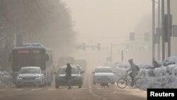 Un día de mucha contaminación en Nanjing, provincia de Jiangsu, China. Enero 30, 2018.