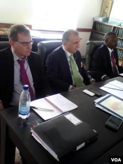 IMF Zimbabwe country representative Christian Beddie and his colleage Domenico Fanizza (right). Photo by Irwin Chifera