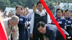马英九参加大爱园区永久屋的动土仪式