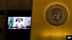 Saudi Arabia's King Salman bin Abdulaziz al-Saud via a prerecorded statement, addresses the 76th Session of the U.N. General Assembly at United Nations headquarters in New York, Sept. 22, 2021.