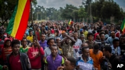 Thousands of protestors from the capital and those displaced by ethnic-based violence over the weekend in Burayu, demonstrate to demand justice from the government in Addis Ababa, Ethiopia, Sept. 17, 2018.