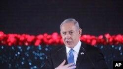 Le Premier ministre israélien Benjamin Netanyahu prononce un discours lors de l'inauguration d'un monument en l'honneur des vétérans et des victimes du siège de Leningrad à Jérusalem, le jeudi 23 janvier 2020. (Marc Israel Sellem/Pool Photo via AP)