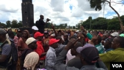 Some of the opposition party supporters and their leaders at the NERA protest in Harare.