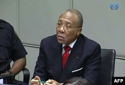 FILE - Former Liberian President Charles Taylor appearing in court at the Special Court for Sierra Leone in Leidschendam, January 22, 2013.