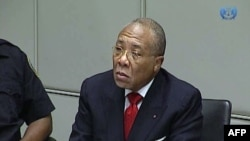 Former Liberian President Charles Taylor appearing in court at the Special Court for Sierra Leone in Leidschendam, Netherlands, Jan. 22, 2013.