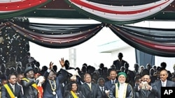 African leaders including indicted Sudanese President Omar al-Bashir joined tens of thousands of Kenyans when Kenyan President Mwai Kibaki to signed the new constitution into law, Nairobi, 27 Aug 2010