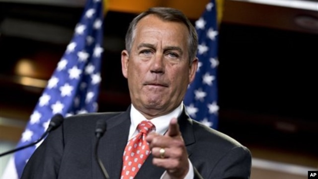 House Speaker John Boehner of Ohio speaks to reporters after private talks with Treasury Secretary Timothy Geithner about the fiscal cliff negotiations, on Capitol Hill in Washington, November 29, 2012.