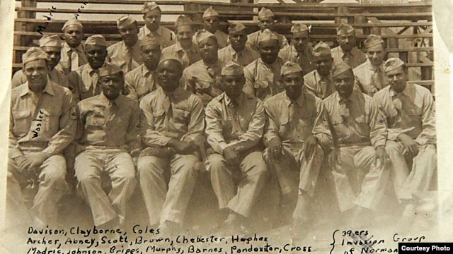 George Davison scrawled the names of his buddies from the 320th on this snapshot taken in Octeville, France, in July 1944. (Photo courtesy of Bill Davison)