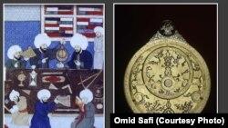 دانشمندان مسلمان حین استفاده از اسطرلاب (آلۀ ستاره یاب)