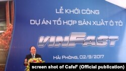 Thủ tướng VN Nguyễn Xuân Phúc phát biểu tại lễ khởi công nhà máy Vinfast.
