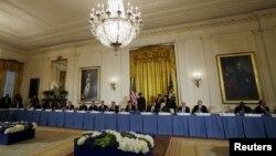 2016年3月31日美国总统奥巴马在白宫主持核安全峰会代表团工作晚餐。
