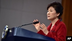 "FILE - South Korean President Park Geun-hye spoke at a groundbreaking on Aug. 5, 2015, for the Gyongwon Line renovation project, saying ""the door to opportunities that North Korea can participate in is always open."""