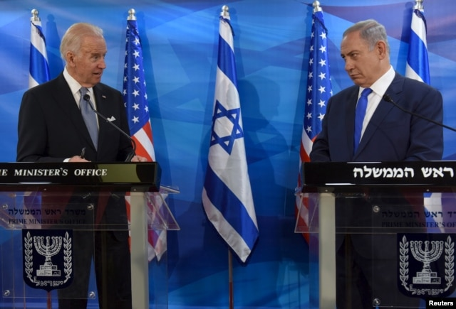 U.S. Vice President Joe Biden (L) and Israeli Prime Minister Benjamin Netanyahu deliver joint statements during their meeting in Jerusalem March 9, 2016.