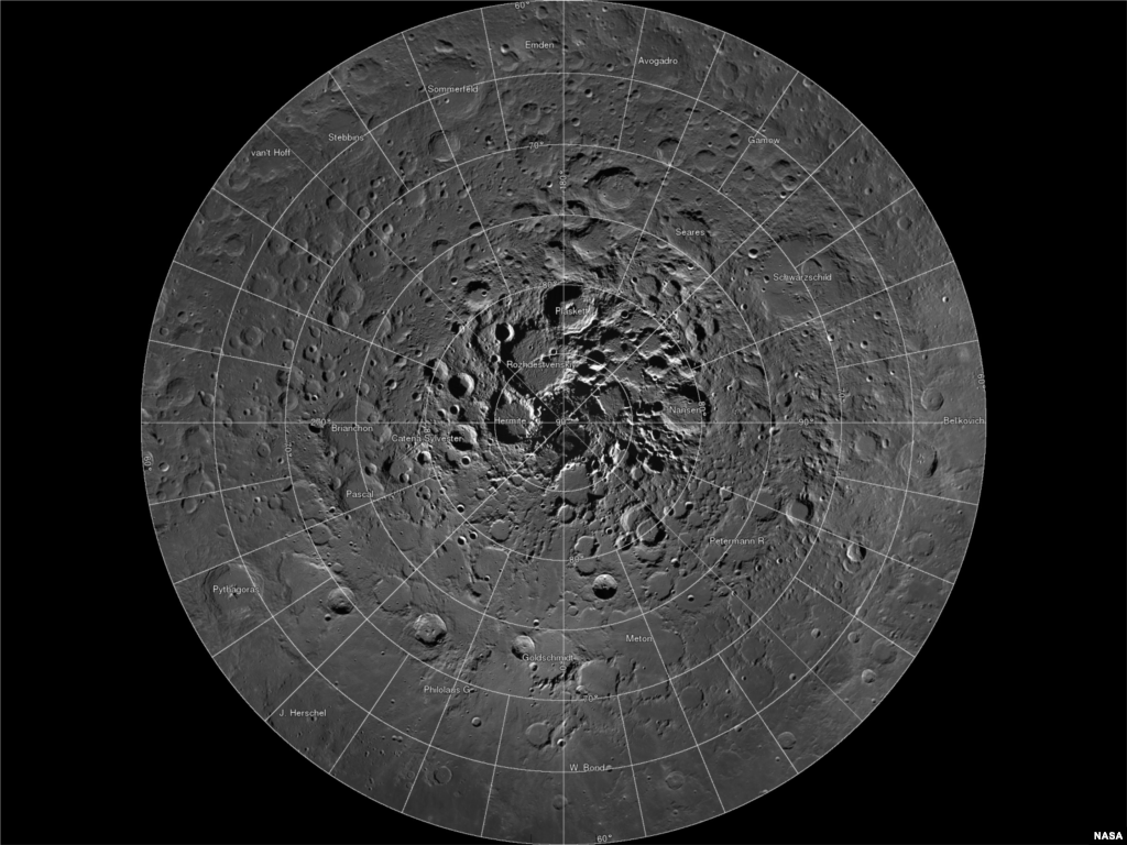 Scientists, using cameras aboard NASA's Lunar Reconnaissance Orbiter (LRO), have created the largest high resolution mosaic of our moon's north polar region. The six-and-a-half feet (two-meters)-per-pixel images cover an area equal to more than one-quarter of the United States. (Image Credit: NASA/GSFC/Arizona State University)