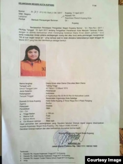 Poster Diana Aman alias Diana Chia, setelah buron 1,5 tahun, Diana ditangkap September 2018 di Sumatera Utara dan kini mendekam di penjara NTT dalam kasus TPPO (courtesy image)