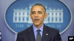 Le président Barack Obama, lors de sa conférence de presse de fin d'année à la Maison Blanche, à Washington, 18 décembre 2015.