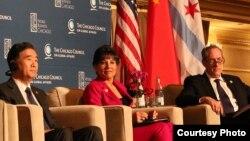 中国副总理汪洋、美国商务部长普里茨克与贸易代表弗罗曼