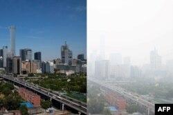 Kawasan bisnis Beijing pada hari biasa dan pada hari berkadar polusi tinggi.