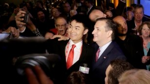 Republican presidential candidate Ted Cruz has his photo taken with a supporter after speaking at the California Republican Party 2016 Convention in Burlingame, Calif., April 30, 2016.