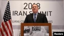 Državni sekretar SAD, Mike Pompeo, govori tokom samita grupe Ujedinjeni protiv nuklearnog Irana, na marginama zasedanja Generalne skupštine Ujedinjenih nacija, 25. septembra 2018.
