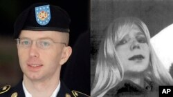 FILE - In this undated file photo provided by the U.S. Army, Pfc. Bradley Manning poses for a photo wearing a wig and lipstick.