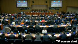 2일 미국 뉴욕 유엔본부에서 유엔총회 산하 제1위원회 회의가 열리고 있다. 이날 제1위원회는 화학무기 사용을 금지하는 결의를 채택했다.