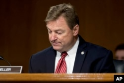 FILE - Sen. Dean Heller, a Nevada Republican, is pictured in Washington on Capitol Hill, Feb. 14, 2017.