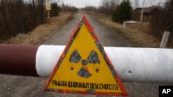 In this Tuesday, March 22, 2011 a sign reads 'Radiation danger' in the state radiation ecology reserve in the village of Babchin, near the 30 km exclusion zone around the Chernobyl nuclear reactor, some 370 km ( 231 miles) south-east of Minsk, Belarus. Th